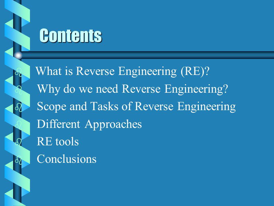 Reverse Engineering Computer Science Computer Science University of Windsor University of Windsor Shaochun Xu
