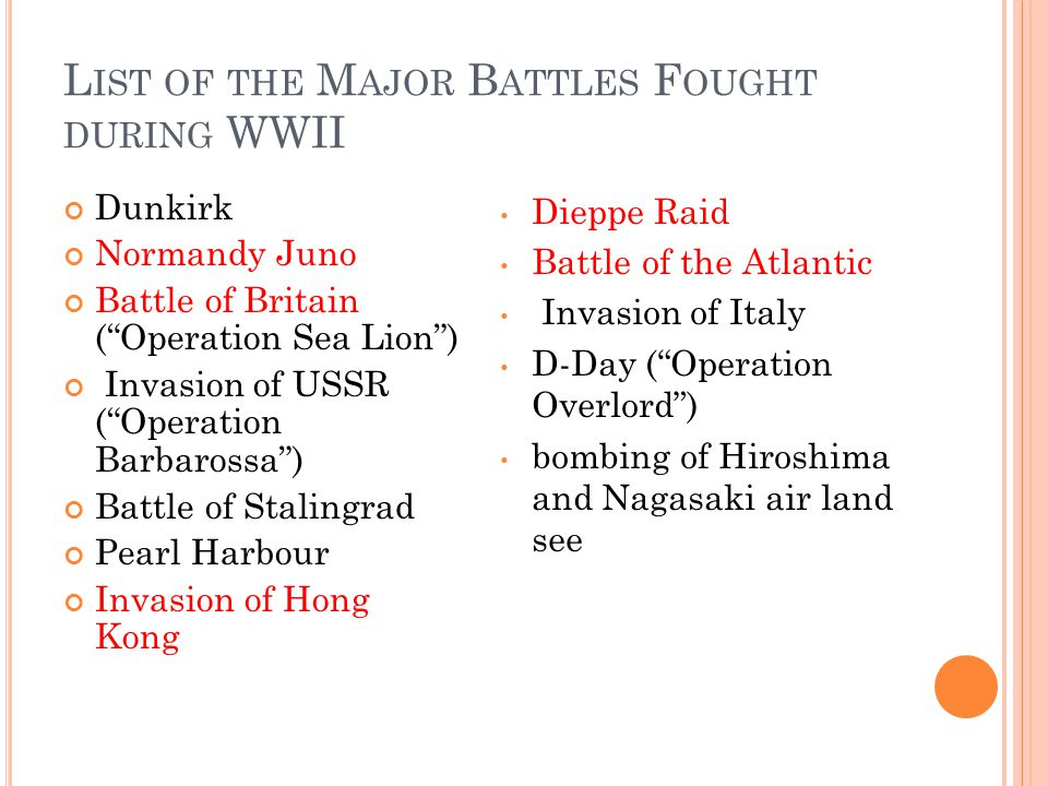 L IST OF THE M AJOR B ATTLES F OUGHT DURING WWII Dunkirk Normandy Juno Battle of Britain ( Operation Sea Lion ) Invasion of USSR ( Operation Barbarossa ) Battle of Stalingrad Pearl Harbour Invasion of Hong Kong Dieppe Raid Battle of the Atlantic Invasion of Italy D-Day ( Operation Overlord ) bombing of Hiroshima and Nagasaki air land see