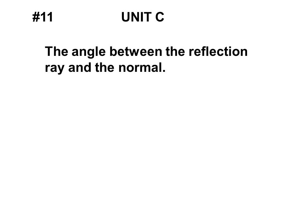 #11UNIT C The angle between the reflection ray and the normal.