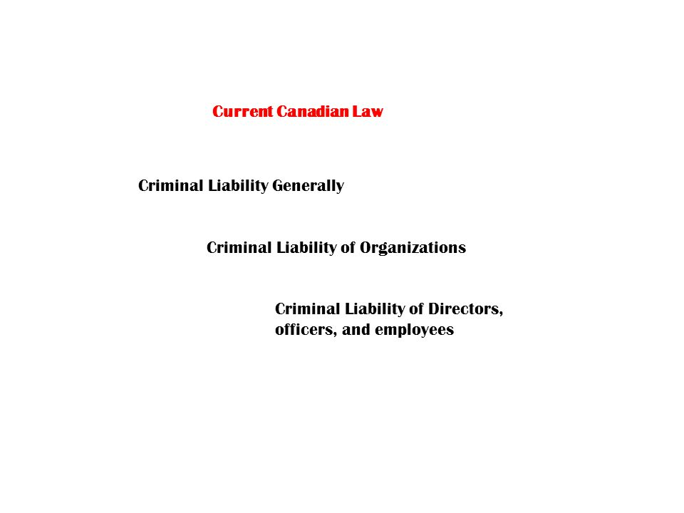 Current Canadian Law Criminal Liability Generally Criminal Liability of Organizations Criminal Liability of Directors, officers, and employees