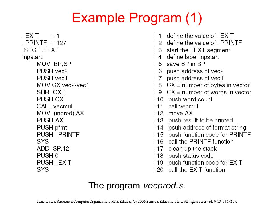 Tanenbaum, Structured Computer Organization, Fifth Edition, (c) 2006 Pearson Education, Inc. All rights reserved. 0-13-148521-0 Example Program (1) Th