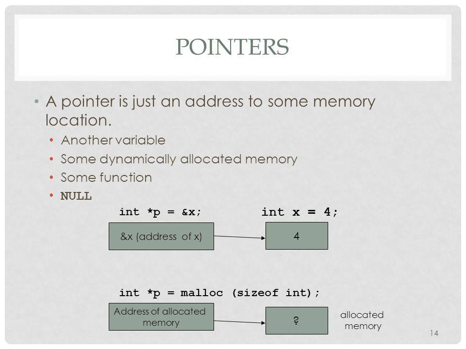 POINTERS A pointer is just an address to some memory location.