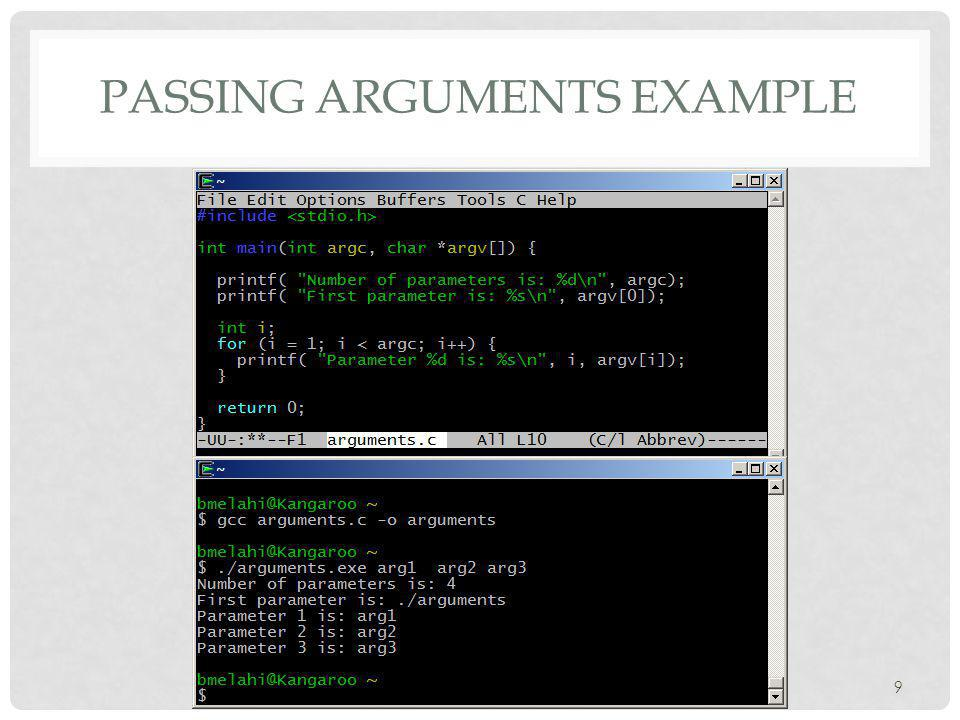 PASSING ARGUMENTS EXAMPLE 9