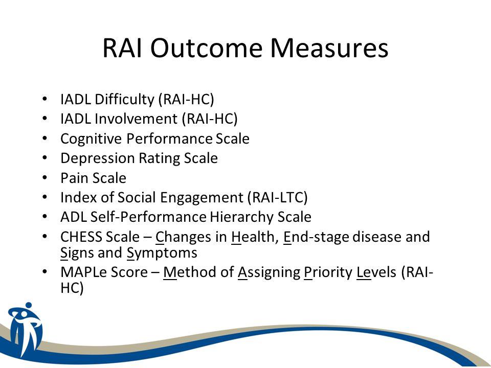 RAI Outcome Measures IADL Difficulty (RAI-HC) IADL Involvement (RAI-HC) Cognitive Performance Scale Depression Rating Scale Pain Scale Index of Social