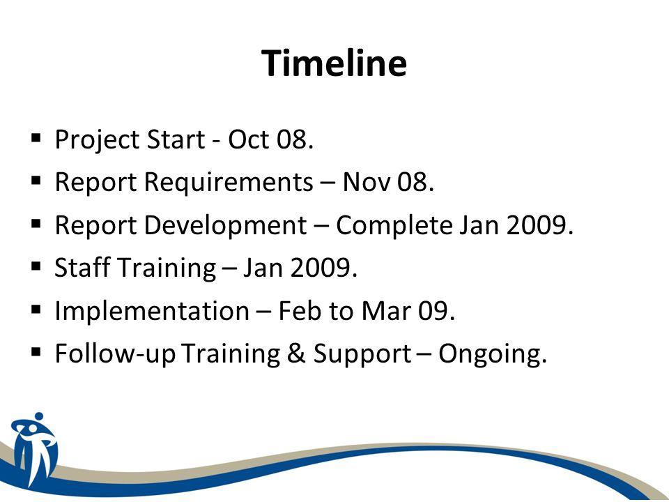Timeline  Project Start - Oct 08.  Report Requirements – Nov 08.  Report Development – Complete Jan 2009.  Staff Training – Jan 2009.  Implementa