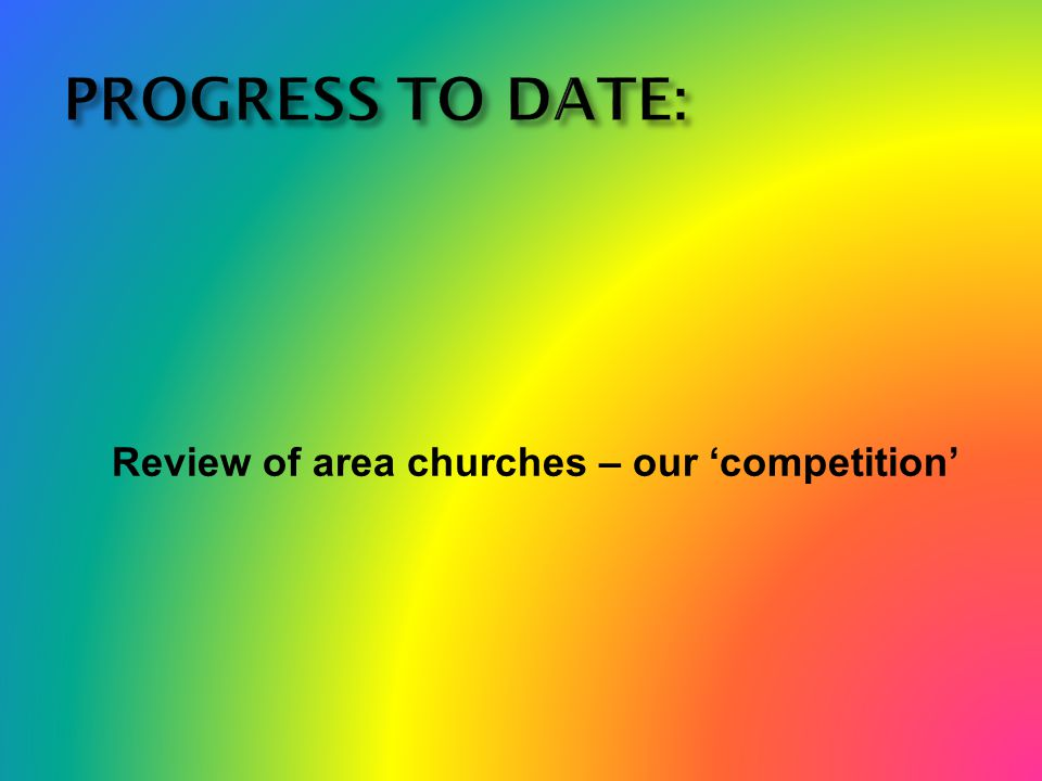 PROGRESS TO DATE: Review of area churches – our 'competition'