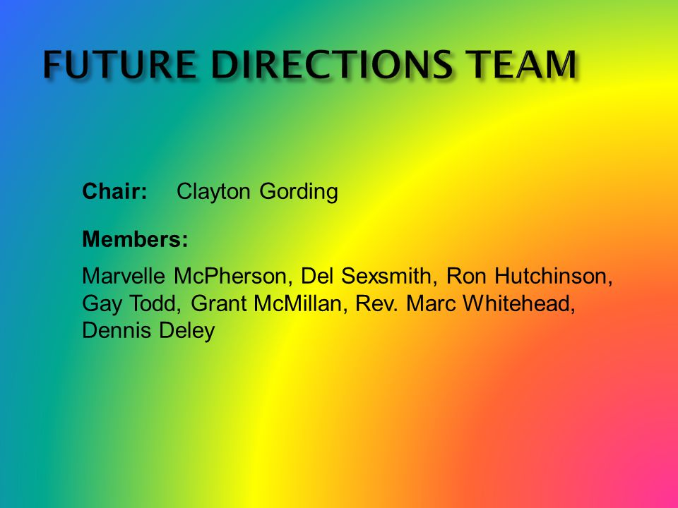 Chair:Clayton Gording Members: Marvelle McPherson, Del Sexsmith, Ron Hutchinson, Gay Todd, Grant McMillan, Rev.