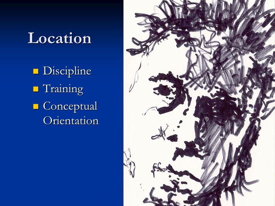 Location Discipline Discipline Training Training Conceptual Orientation Conceptual Orientation
