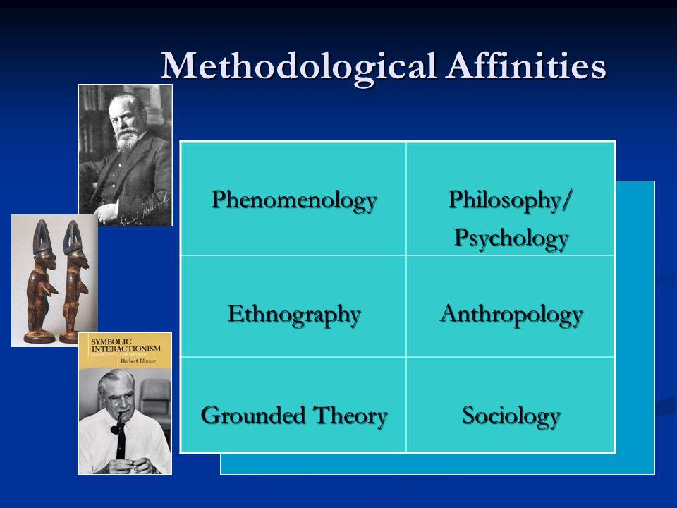 Methodological Affinities PhenomenologyPhilosophy/Psychology EthnographyAnthropology Grounded Theory Sociology