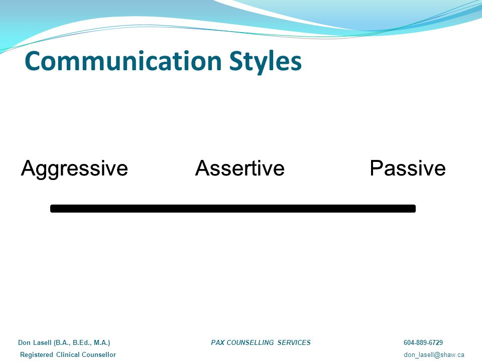Communication Styles Aggressive Assertive Passive Don Lasell (B.A., B.Ed., M.A.)PAX COUNSELLING SERVICES604-889-6729 Registered Clinical Counsellordon