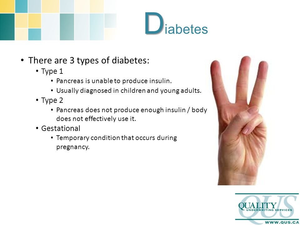 D D iabetes There are 3 types of diabetes: Type 1 Pancreas is unable to produce insulin. Usually diagnosed in children and young adults. Type 2 Pancre