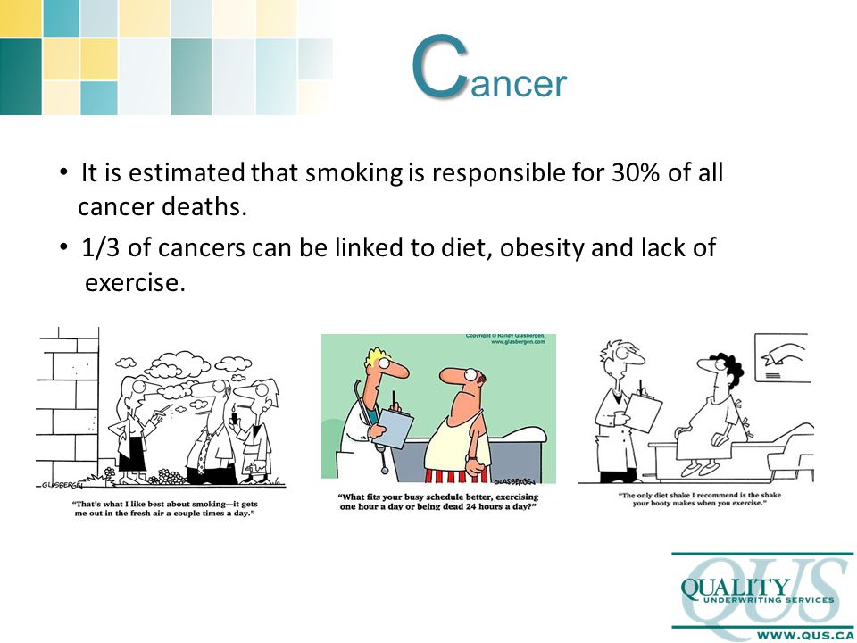 C C ancer It is estimated that smoking is responsible for 30% of all cancer deaths. 1/3 of cancers can be linked to diet, obesity and lack of exercise