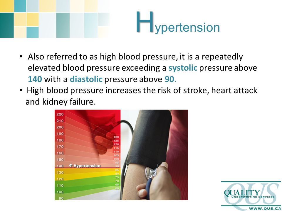H H ypertension Also referred to as high blood pressure, it is a repeatedly elevated blood pressure exceeding a systolic pressure above 140 with a dia