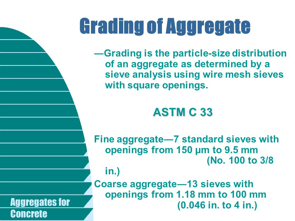 Aggregates for Concrete Grading of Aggregate ―Grading is the particle-size distribution of an aggregate as determined by a sieve analysis using wire m