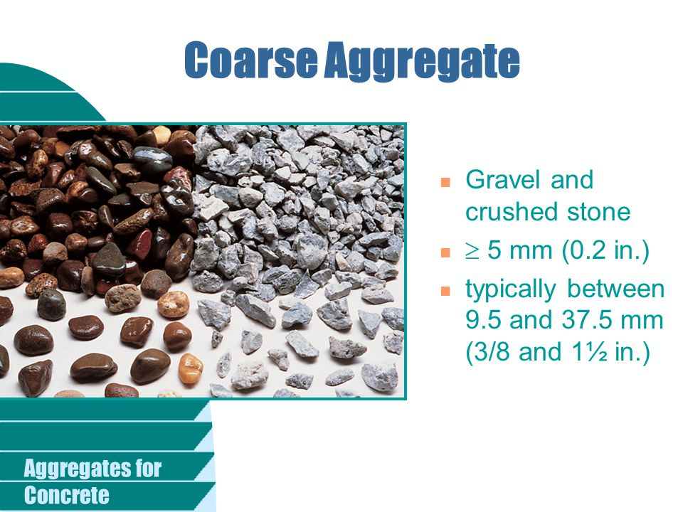 Aggregates for Concrete n Influencing Factors u Reactive forms of silica in the aggregate, u High-alkali (pH) pore solution u Sufficient moisture If one of these conditions is absent ― ASR cannot occur.