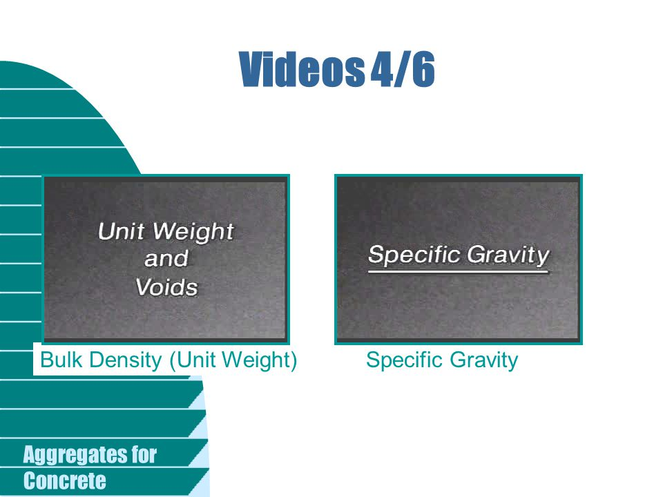 Aggregates for Concrete Videos 4/6 Bulk Density (Unit Weight)Specific Gravity