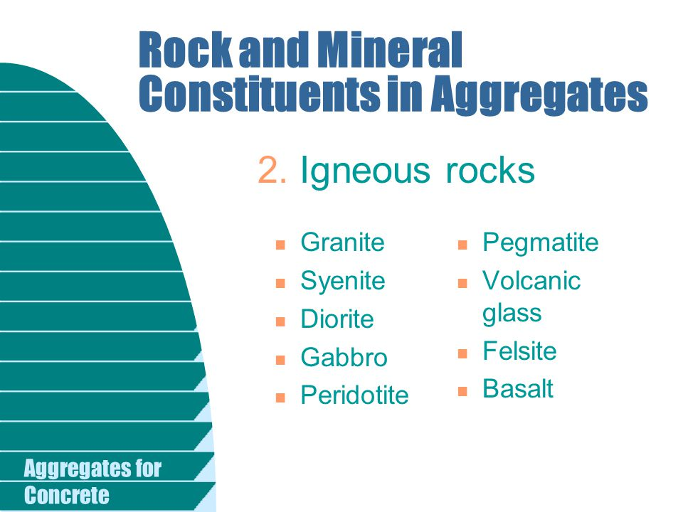 Aggregates for Concrete Harmful Reactive Substances Alkali-silica reactive substances Alkali-carbonate reactive substances Andesites Argillites Certain siliceous limestones and dolomites Chalcedonic cherts Chalcedony Cristobalite Dacites Glassy or crypto- crystalline volcanics Granite gneiss Graywackes Metagray- wackes Opal Opaline shales Phylites Quartzites Quartzoses Cherts Rhyolites Schists Siliceous shales Strained quartz and certain other forms of quartz Synthetic and natural silicious glass Tridymite Calcitic dolomites Dolomitic limestones Fine-grained dolomites