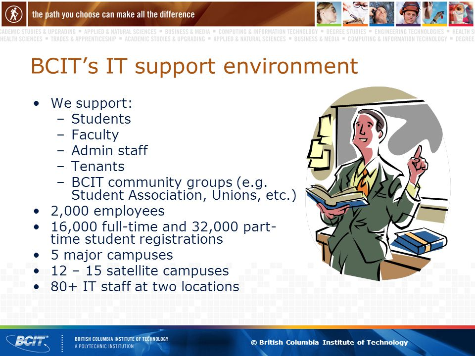 © British Columbia Institute of Technology BCIT's IT support environment We support: –Students –Faculty –Admin staff –Tenants –BCIT community groups (
