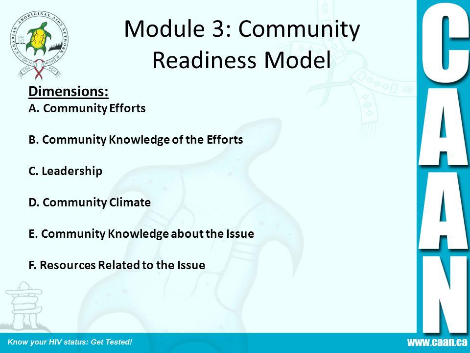 Module 3: Community Readiness Model Dimensions: A. Community Efforts B. Community Knowledge of the Efforts C. Leadership D. Community Climate E. Commu