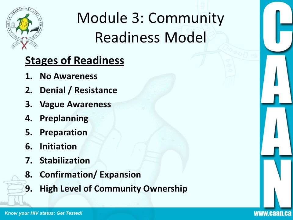 Module 3: Community Readiness Model Stages of Readiness 1.No Awareness 2.Denial / Resistance 3.Vague Awareness 4.Preplanning 5.Preparation 6.Initiation 7.Stabilization 8.Confirmation/ Expansion 9.High Level of Community Ownership