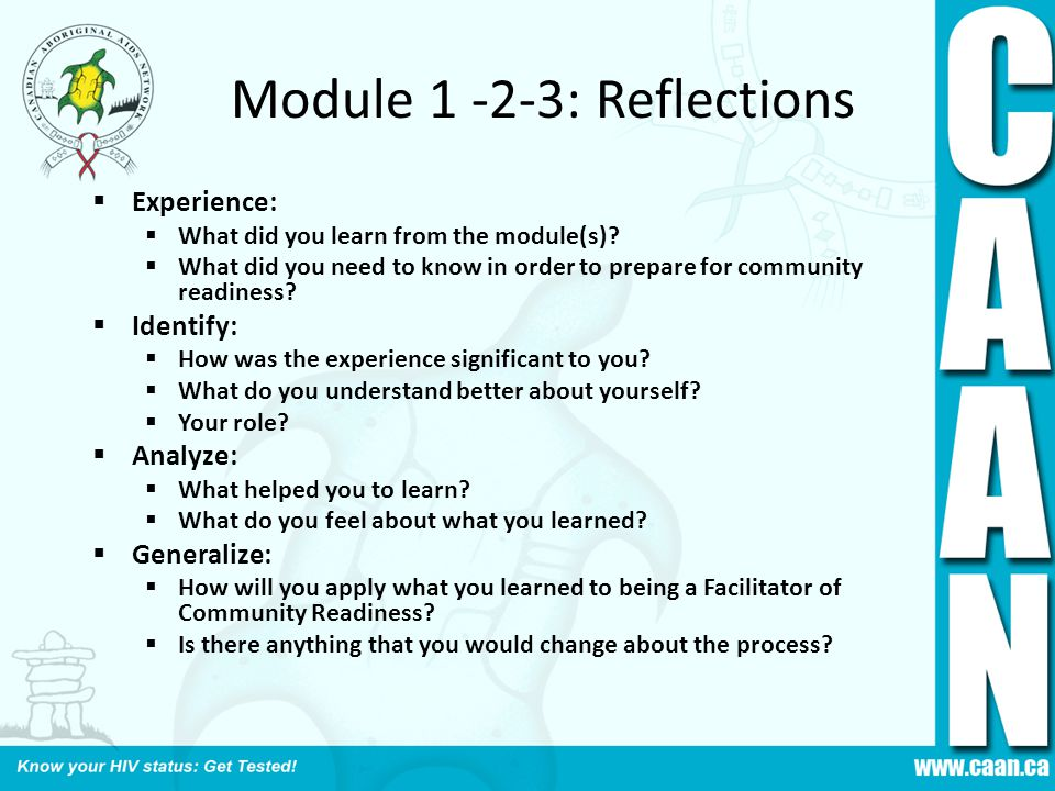 Module 1 -2-3: Reflections  Experience:  What did you learn from the module(s)?  What did you need to know in order to prepare for community readin