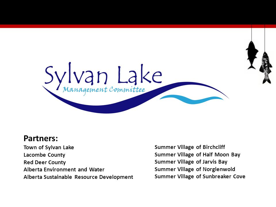 Partners: Town of Sylvan Lake Lacombe County Red Deer County Alberta Environment and Water Alberta Sustainable Resource Development Summer Village of Birchcliff Summer Village of Half Moon Bay Summer Village of Jarvis Bay Summer Village of Norglenwold Summer Village of Sunbreaker Cove