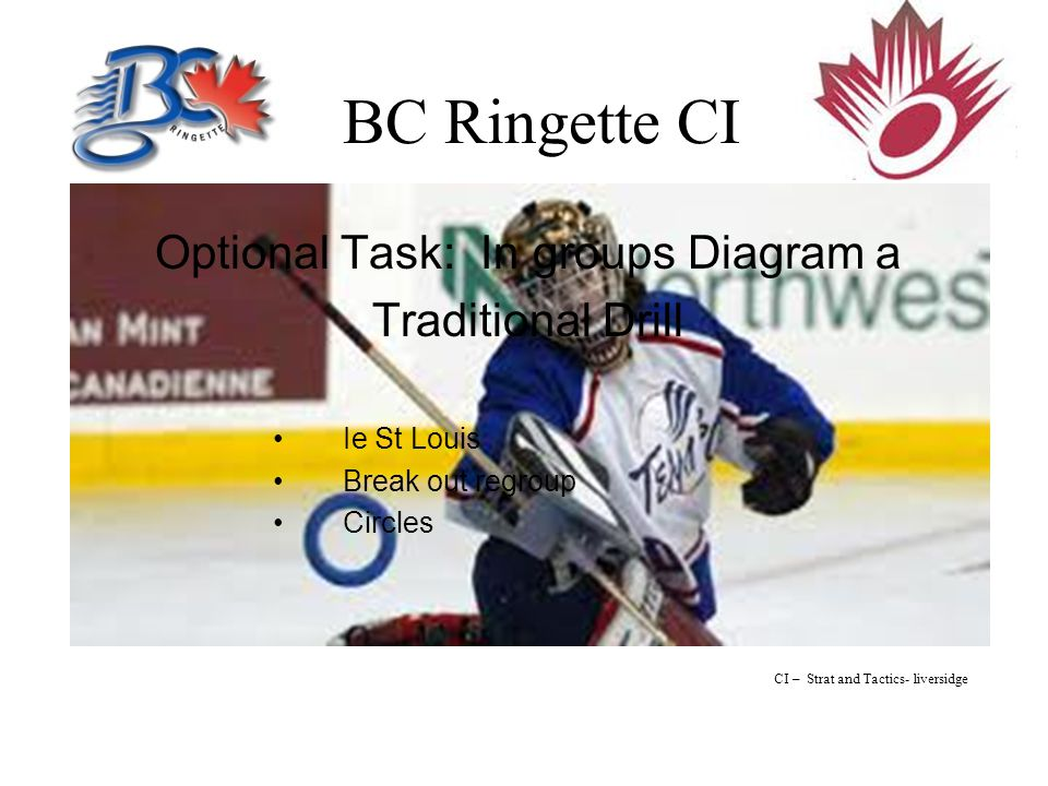 BC Ringette CI Optional Task: In groups Diagram a Traditional Drill Ie St Louis Break out regroup Circles CI – Strat and Tactics- liversidge