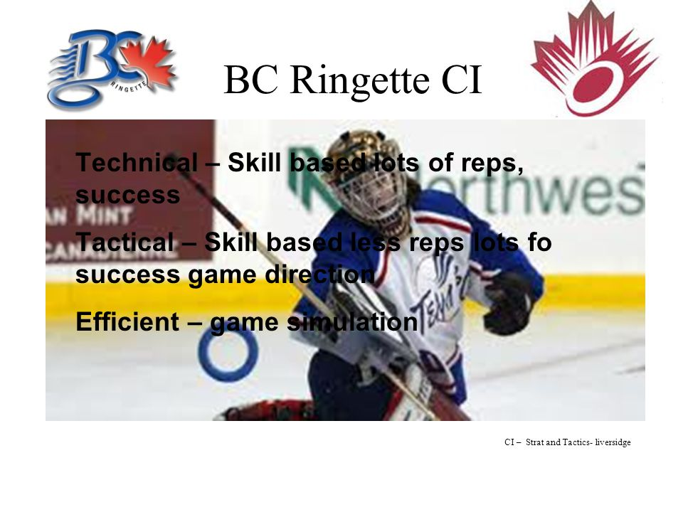 BC Ringette CI Technical – Skill based lots of reps, success Tactical – Skill based less reps lots fo success game direction Efficient – game simulation CI – Strat and Tactics- liversidge