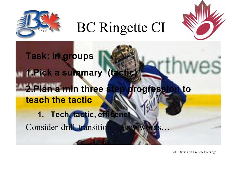 BC Ringette CI Task: in groups 1.Pick a summary (tactic) 2.Plan a min three step progression to teach the tactic 1.Tech, tactic, efficenet Consider drill transition… key words… CI – Strat and Tactics- liversidge