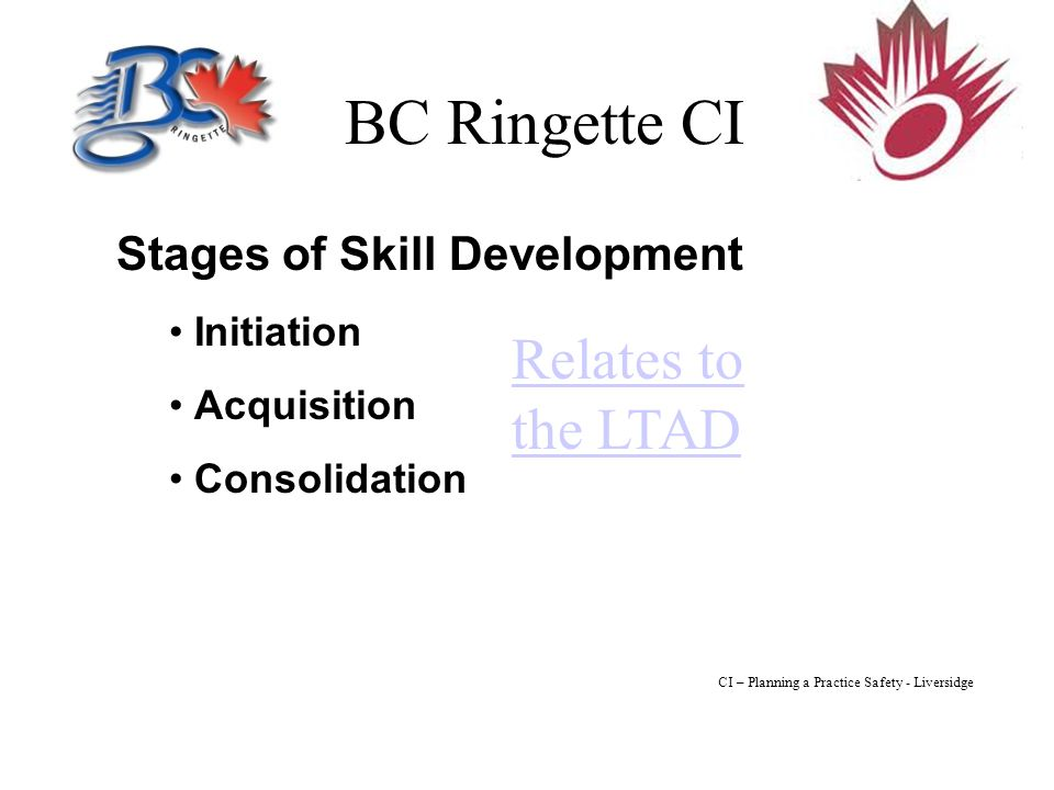 BC Ringette CI Stages of Skill Development Initiation Acquisition Consolidation Relates to the LTAD CI – Planning a Practice Safety - Liversidge