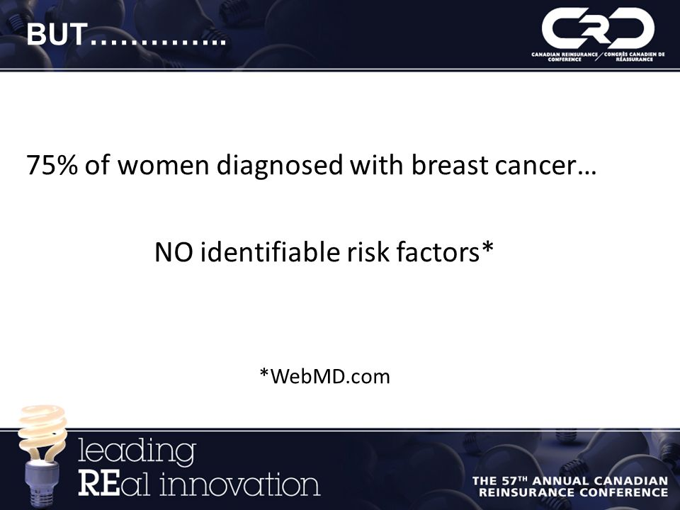 BUT………….. 75% of women diagnosed with breast cancer… NO identifiable risk factors* *WebMD.com