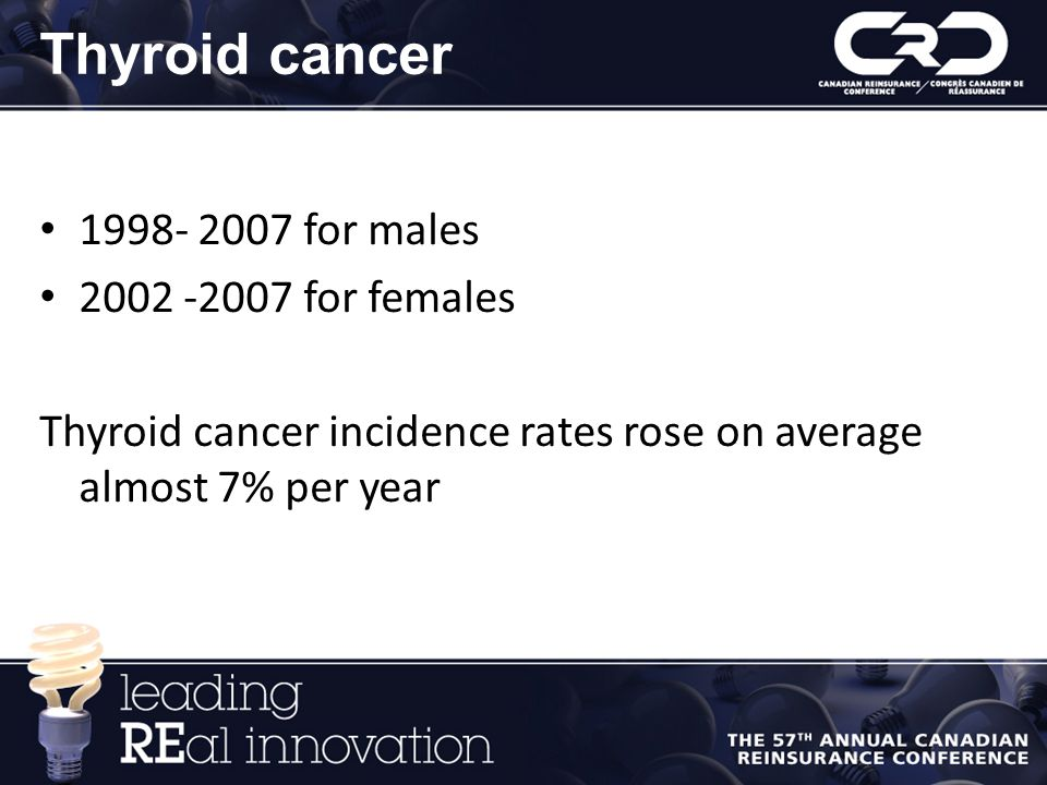 Thyroid cancer 1998- 2007 for males 2002 -2007 for females Thyroid cancer incidence rates rose on average almost 7% per year