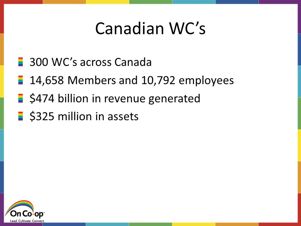 Canadian WC's 300 WC's across Canada 14,658 Members and 10,792 employees $474 billion in revenue generated $325 million in assets