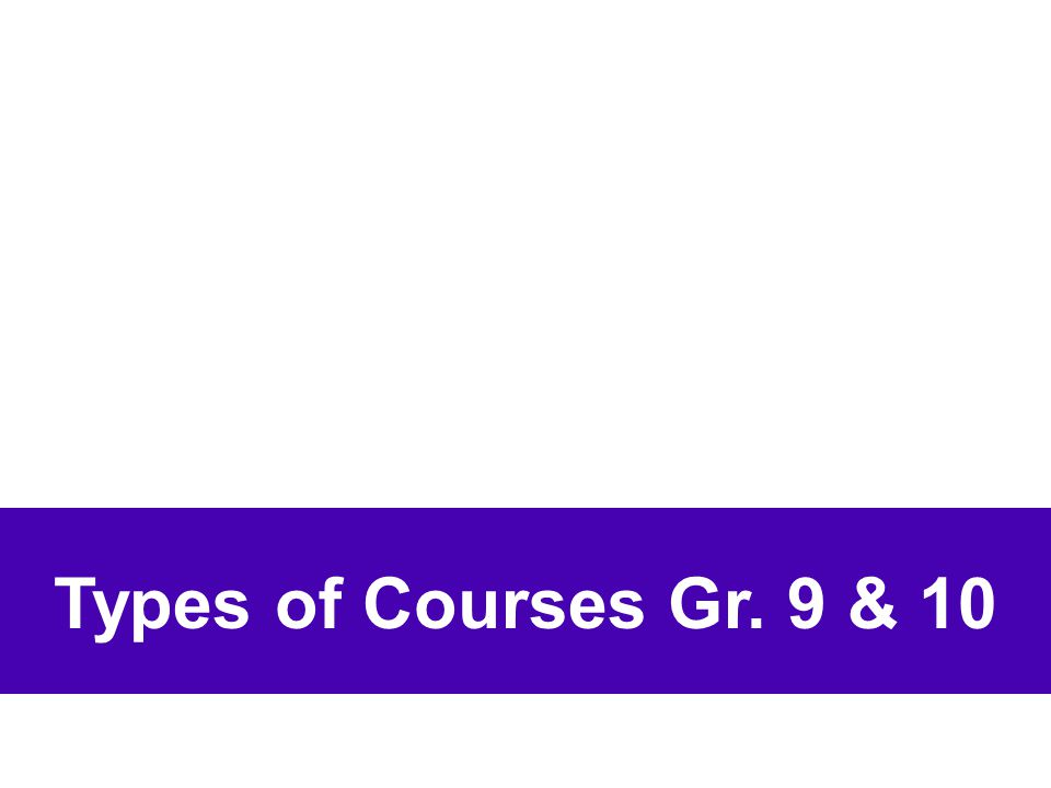 Types of Courses Gr. 9 & 10