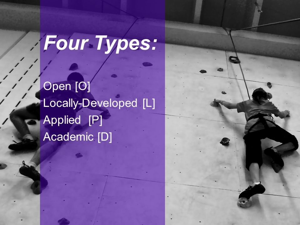 Four Types: Open [O] Locally-Developed [L] Applied [P] Academic [D]