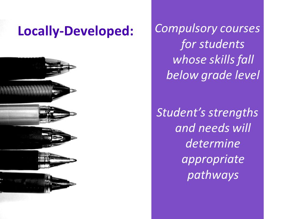 Compulsory courses for students whose skills fall below grade level Student's strengths and needs will determine appropriate pathways Locally-Develope