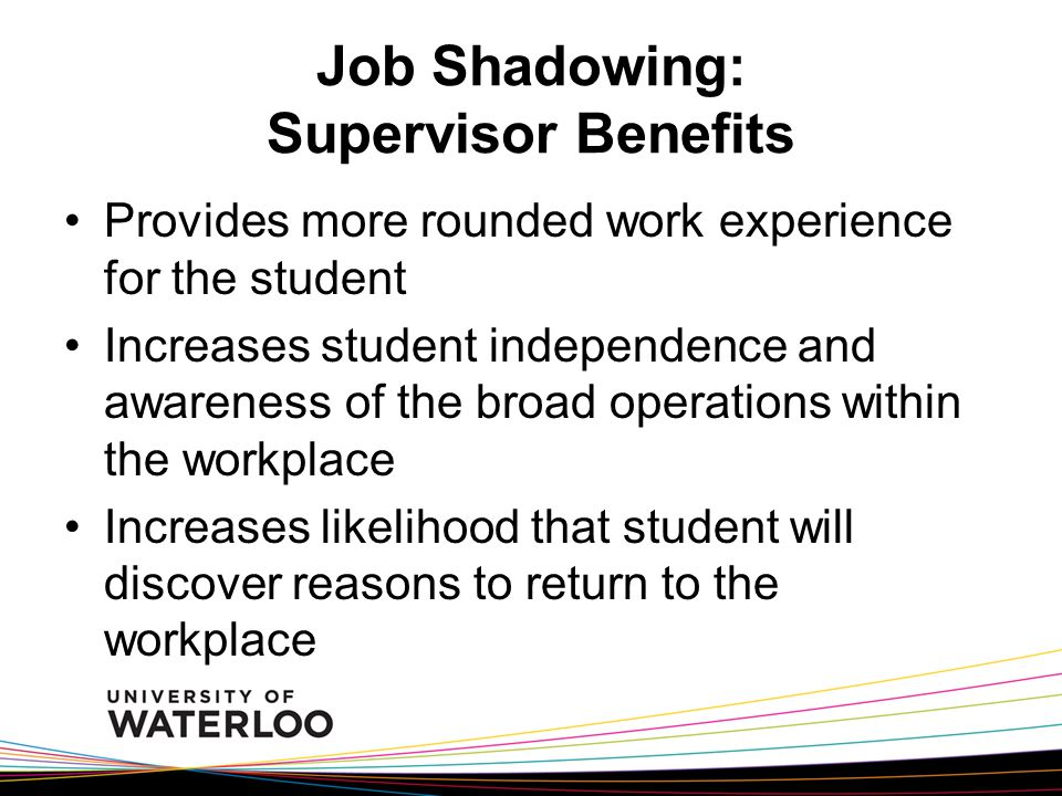Job Shadowing: Supervisor Benefits Provides more rounded work experience for the student Increases student independence and awareness of the broad operations within the workplace Increases likelihood that student will discover reasons to return to the workplace