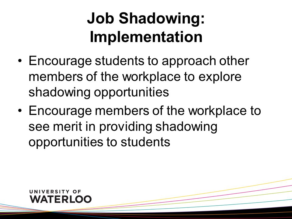 Job Shadowing: Implementation Encourage students to approach other members of the workplace to explore shadowing opportunities Encourage members of the workplace to see merit in providing shadowing opportunities to students