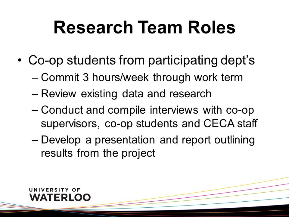 Research Team Roles Co-op students from participating dept's –Commit 3 hours/week through work term –Review existing data and research –Conduct and compile interviews with co-op supervisors, co-op students and CECA staff –Develop a presentation and report outlining results from the project