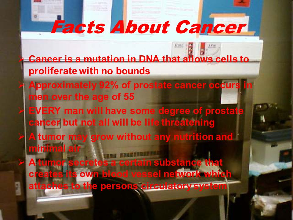  Cancer is a mutation in DNA that allows cells to proliferate with no bounds  Approximately 92% of prostate cancer occurs in men over the age of 55  EVERY man will have some degree of prostate cancer but not all will be life threatening  A tumor may grow without any nutrition and minimal air  A tumor secretes a certain substance that creates its own blood vessel network which attaches to the persons circulatory system Facts About Cancer