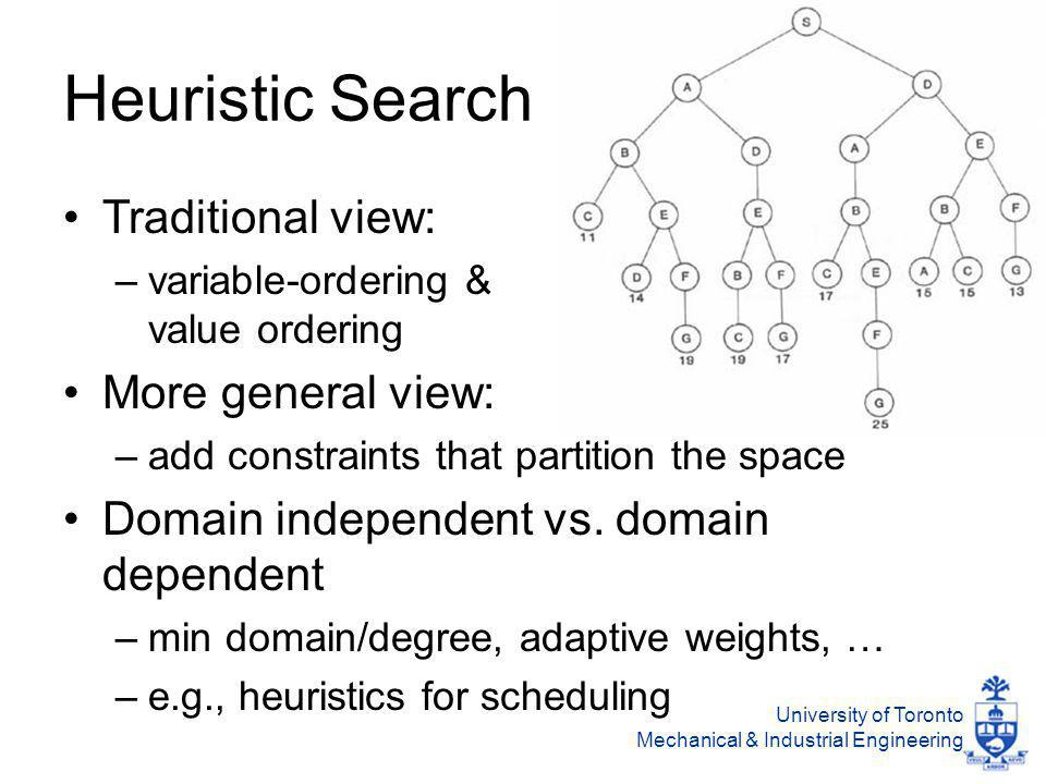 University of Toronto Mechanical & Industrial Engineering Heuristic Search Traditional view: –variable-ordering & value ordering More general view: –add constraints that partition the space Domain independent vs.
