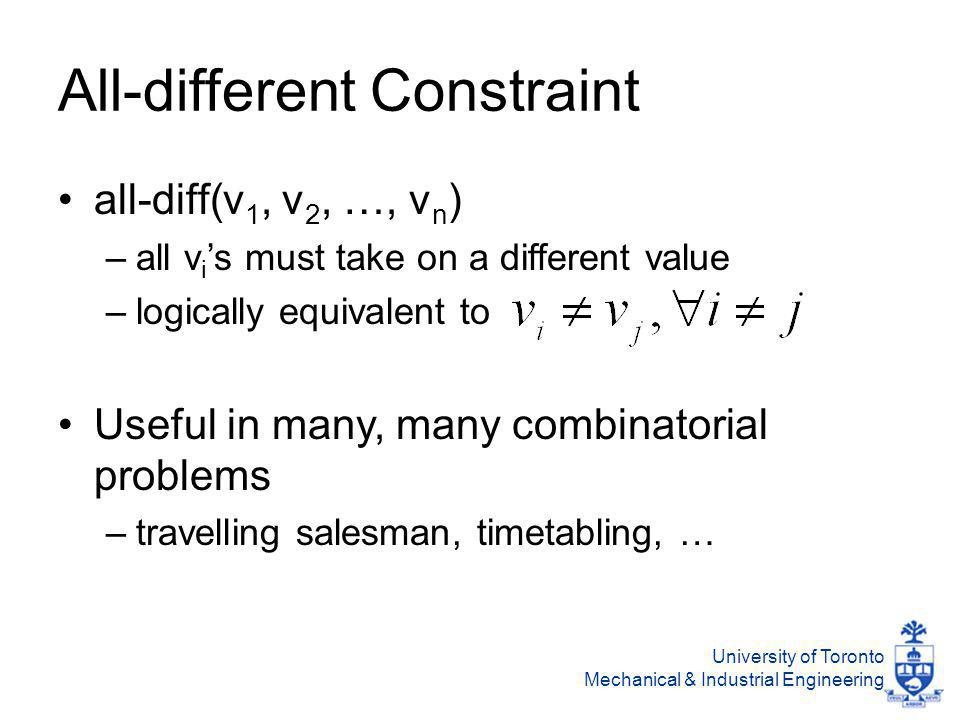 University of Toronto Mechanical & Industrial Engineering All-different Constraint all-diff(v 1, v 2, …, v n ) –all v i 's must take on a different value –logically equivalent to Useful in many, many combinatorial problems –travelling salesman, timetabling, …