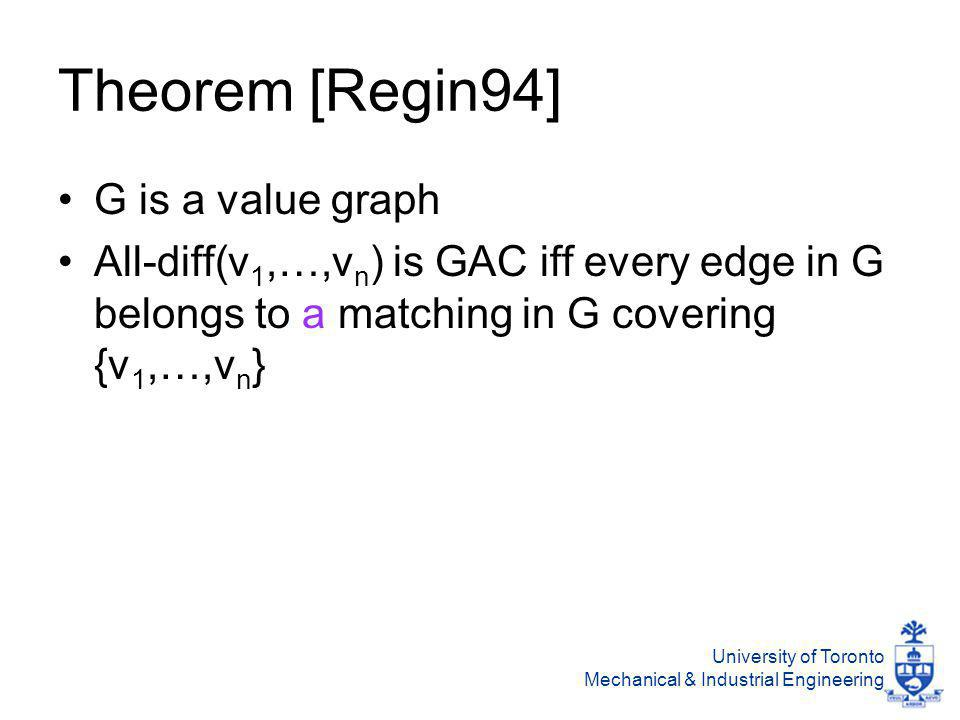 University of Toronto Mechanical & Industrial Engineering Theorem [Regin94] G is a value graph All-diff(v 1,…,v n ) is GAC iff every edge in G belongs to a matching in G covering {v 1,…,v n }