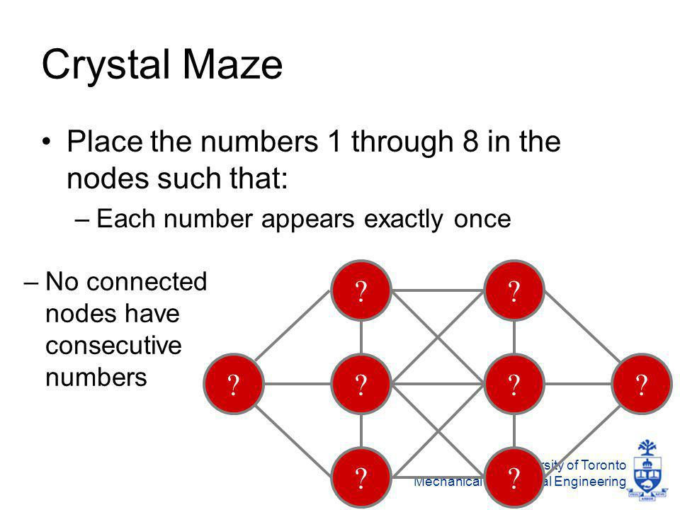 University of Toronto Mechanical & Industrial Engineering Crystal Maze Place the numbers 1 through 8 in the nodes such that: –Each number appears exactly once .