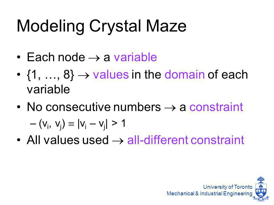 University of Toronto Mechanical & Industrial Engineering Modeling Crystal Maze Each node  a variable {1, …, 8}  values in the domain of each variable No consecutive numbers  a constraint –(v i, v j )  |v i – v j | > 1 All values used  all-different constraint