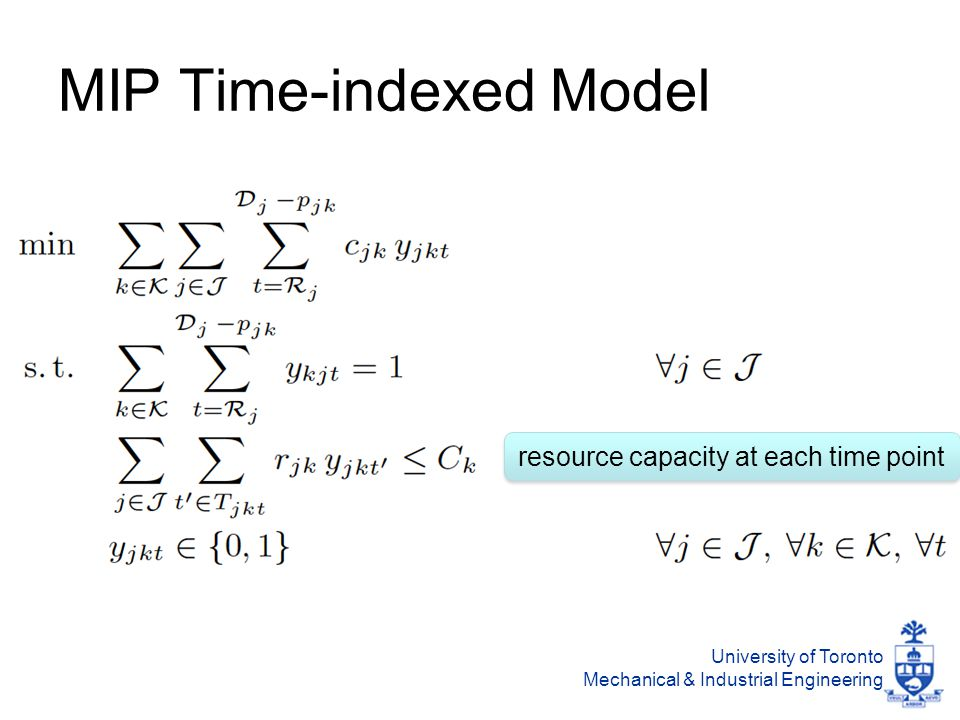 University of Toronto Mechanical & Industrial Engineering MIP Time-indexed Model resource capacity at each time point