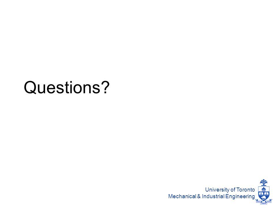 University of Toronto Mechanical & Industrial Engineering Questions