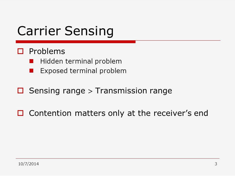 10/7/20144 Hidden Terminal Problem A B X No carrier  OK to transmit