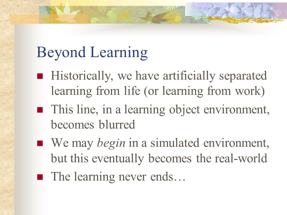 Beyond Learning Historically, we have artificially separated learning from life (or learning from work) This line, in a learning object environment, becomes blurred We may begin in a simulated environment, but this eventually becomes the real-world The learning never ends…