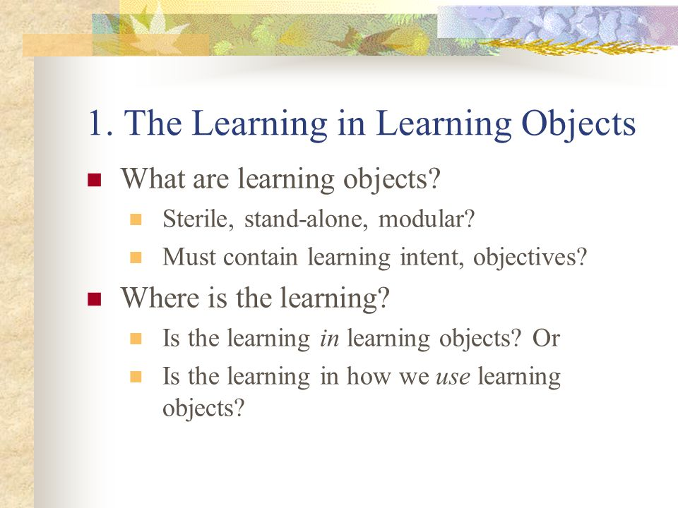 1. The Learning in Learning Objects What are learning objects.